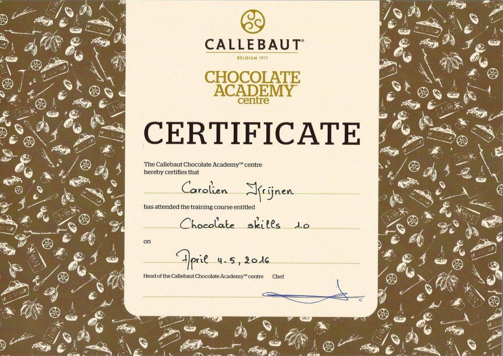 Callebaut Academy certificaat - Carolien Krijnen